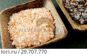 Купить «Halite and black salt in bowl 4k», видеоролик № 29707770, снято 5 июня 2017 г. (c) Wavebreak Media / Фотобанк Лори