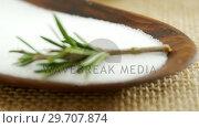 Купить «Salt and rosemary herb in bowl 4k», видеоролик № 29707874, снято 5 июня 2017 г. (c) Wavebreak Media / Фотобанк Лори