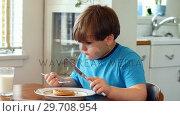 Купить «Boy having breakfast on dinning table 4k», видеоролик № 29708954, снято 18 марта 2017 г. (c) Wavebreak Media / Фотобанк Лори