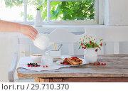 Купить «breakfast with berries on old wooden table», фото № 29710370, снято 20 июня 2018 г. (c) Майя Крученкова / Фотобанк Лори