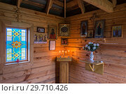 Купить «In the chapel on the holy source of the Icon of the Mother of God of the Isakovsky Nativity of the Most Holy Theotokos in the village of Pustyn», фото № 29710426, снято 4 октября 2018 г. (c) Валерий Смирнов / Фотобанк Лори