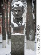 Бюст участника Отечественной войны 1812 года Фонвизина Ивана Александровича на площади Ленина в Бронницах (2019 год). Редакционное фото, фотограф Дмитрий Неумоин / Фотобанк Лори