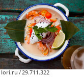 Top view of ceviche in Vietnamese style with coconut milk. Стоковое фото, фотограф Яков Филимонов / Фотобанк Лори
