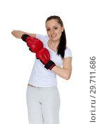 Young woman in fighting gloves. Стоковое фото, фотограф Мельников Дмитрий / Фотобанк Лори