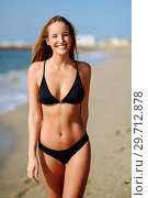 Купить «Young blonde woman with beautiful body in swimwear on a tropical beach. », фото № 29712878, снято 24 сентября 2017 г. (c) Ingram Publishing / Фотобанк Лори