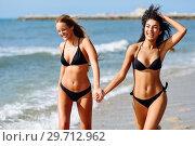 Купить «Two young women with beautiful bodies in swimwear on a tropical beach», фото № 29712962, снято 24 сентября 2017 г. (c) Ingram Publishing / Фотобанк Лори