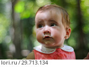 Купить «Six months old baby girl having fun outdoors.», фото № 29713134, снято 4 августа 2011 г. (c) Ingram Publishing / Фотобанк Лори