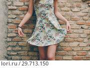 Купить «Sexy woman raising her dress on brick wall.», фото № 29713150, снято 24 апреля 2018 г. (c) Ingram Publishing / Фотобанк Лори