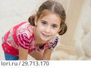 Купить «Adorable little girl combed with pigtails », фото № 29713170, снято 3 октября 2015 г. (c) Ingram Publishing / Фотобанк Лори