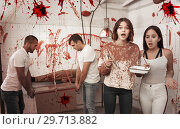 Купить «Scared girls with medical instruments in lost room», фото № 29713882, снято 8 октября 2018 г. (c) Яков Филимонов / Фотобанк Лори