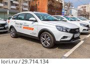 Купить «New Russian vehicle Lada Vesta SW Cross», фото № 29714134, снято 1 мая 2018 г. (c) FotograFF / Фотобанк Лори