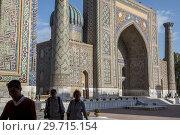 Купить «Courtyard of Sher Dor Medressa, Registan, Samarkand, Uzbekistan.», фото № 29715154, снято 24 июня 2019 г. (c) age Fotostock / Фотобанк Лори
