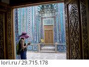 Купить «Qutlugh Ata mausoleum, Shah-i-Zinda complex, Samarkand, Uzbekistan.», фото № 29715178, снято 28 января 2020 г. (c) age Fotostock / Фотобанк Лори
