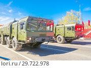 Купить «Russia, Samara, May 2018: Mobile ballistic missile system 9?720 Iskander on a city street.», фото № 29722978, снято 5 мая 2018 г. (c) Акиньшин Владимир / Фотобанк Лори