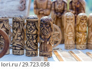 Купить «Russia, Samara, July, 2018: Wooden amulet toys. Ethno-historical festival with the reconstruction of the battle of 1391 (Timur and Tokhtamysh)», фото № 29723058, снято 29 июля 2018 г. (c) Акиньшин Владимир / Фотобанк Лори