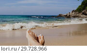 Купить «Feet in the sand on the beach», видеоролик № 29728966, снято 16 января 2019 г. (c) Ekaterina Demidova / Фотобанк Лори