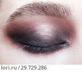 Купить «Closeup macro portrait of closed human female eye. Girl with perfect violet - black smoky eyes make-up.», фото № 29729286, снято 22 марта 2018 г. (c) Serg Zastavkin / Фотобанк Лори