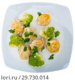 Купить «Top view of fish balls on blue tablecloth», фото № 29730014, снято 20 ноября 2019 г. (c) Яков Филимонов / Фотобанк Лори