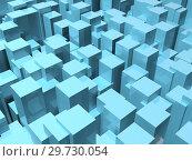 Random extruded shiny blue boxes. 3d illustration. Стоковая иллюстрация, иллюстратор EugeneSergeev / Фотобанк Лори