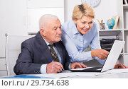 Купить «Aged manager working with secretary», фото № 29734638, снято 23 апреля 2019 г. (c) Яков Филимонов / Фотобанк Лори