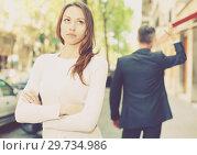 Купить «Offended girl after quarrel with boyfriend», фото № 29734986, снято 11 апреля 2017 г. (c) Яков Филимонов / Фотобанк Лори