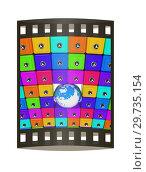 Купить «Earth and many safes. Global bancing online concept of money saving. 3d render. Film strip.», фото № 29735154, снято 17 сентября 2019 г. (c) Guru3d / Фотобанк Лори