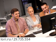 Купить «business team with computer working late at office», фото № 29735554, снято 26 ноября 2017 г. (c) Syda Productions / Фотобанк Лори