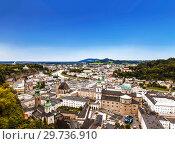 Купить «Top view of Salzburg and its attractions, Austria», фото № 29736910, снято 16 августа 2012 г. (c) Наталья Волкова / Фотобанк Лори
