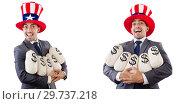 Купить «Man with american hat with moneybags», фото № 29737218, снято 17 июня 2019 г. (c) Elnur / Фотобанк Лори
