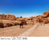 The road between the red cliffs to the ancient city of Petra, Jordan (2012 год). Стоковое фото, фотограф Наталья Волкова / Фотобанк Лори