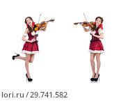 Купить «Woman with violin isolated on white», фото № 29741582, снято 30 января 2013 г. (c) Elnur / Фотобанк Лори