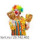 Купить «Male clown isolated on white», фото № 29742402, снято 28 сентября 2018 г. (c) Elnur / Фотобанк Лори
