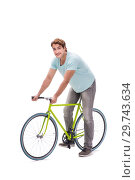 Купить «Young man with cycle isolated on white», фото № 29743634, снято 30 августа 2018 г. (c) Elnur / Фотобанк Лори