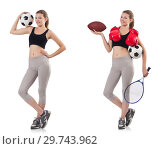 Купить «Young woman with football, rugby ball, boxing gloves and tennis», фото № 29743962, снято 20 января 2019 г. (c) Elnur / Фотобанк Лори