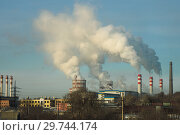 Industrial landscape with metallurgical plant, fuming pipes and white smoke. Metallurgical works with smoke. Industrial architecture. Стоковое фото, фотограф Евгений Бобков / Фотобанк Лори