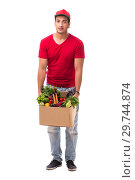 Купить «Concept of shopping delivery isolated on white background», фото № 29744874, снято 2 августа 2018 г. (c) Elnur / Фотобанк Лори