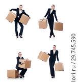 Купить «Woman businesswoman with boxes on white», фото № 29745590, снято 22 августа 2013 г. (c) Elnur / Фотобанк Лори