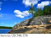 Купить «Karelian landscape - rocks, pine trees, sky and water. Bay Chupa, White Sea, Karelia, Russia», фото № 29746174, снято 10 августа 2018 г. (c) Сергей Трофименко / Фотобанк Лори