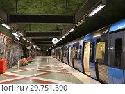 Купить «Train is at Kungstradgarden, station of Stockholm metro. Швеция», фото № 29751590, снято 9 июля 2018 г. (c) Валерия Попова / Фотобанк Лори