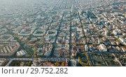Купить «Aerial view of Mediterranean Sea coast of Barcelona, Spain», видеоролик № 29752282, снято 16 ноября 2018 г. (c) Яков Филимонов / Фотобанк Лори