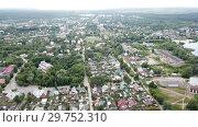 Купить «Panoramic aerial view of district of Gus-Khrustalny, Vladimir region, Russia», видеоролик № 29752310, снято 27 июня 2018 г. (c) Яков Филимонов / Фотобанк Лори