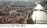 Купить «Aerial panoramic view of city Lyon on sunny day, France», видеоролик № 29752462, снято 24 октября 2018 г. (c) Яков Филимонов / Фотобанк Лори