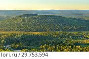 Купить «Northern hills in evening at sunset. Finland, Lapland», фото № 29753594, снято 12 июля 2018 г. (c) Валерия Попова / Фотобанк Лори