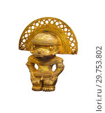 Купить «Ancient Colombian gold pendant in the form of a cacique», фото № 29753802, снято 17 января 2019 г. (c) Евгений Харитонов / Фотобанк Лори