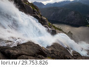 Summer mountain Langfossen waterfall on slope Etne, Norway. Стоковое фото, фотограф Алексей Ширманов / Фотобанк Лори
