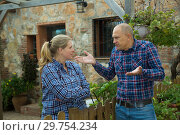 Купить «Spouses quarreling in backyard», фото № 29754234, снято 15 декабря 2018 г. (c) Яков Филимонов / Фотобанк Лори