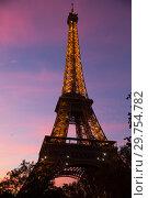 Купить «Bottom night view of Eiffel Tower», фото № 29754782, снято 9 октября 2018 г. (c) Яков Филимонов / Фотобанк Лори