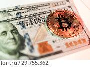 Купить «Exchange bitcoin for a dollar. Finance background.», фото № 29755362, снято 20 января 2019 г. (c) bashta / Фотобанк Лори