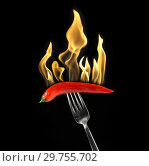 Купить «Red chili pepper on fork burns fire», фото № 29755702, снято 20 января 2019 г. (c) Алексей Кузнецов / Фотобанк Лори