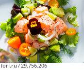 Купить «Fish ceviche with avocado, kumquat, dill», фото № 29756206, снято 21 ноября 2019 г. (c) Яков Филимонов / Фотобанк Лори